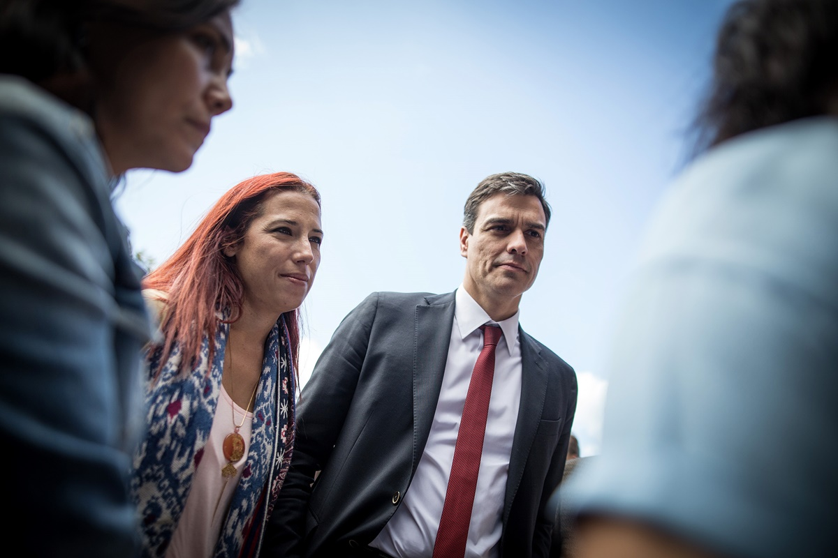 Patricia Hernández y Pedro Sánchez, en una anterior visita a Canarias. DA