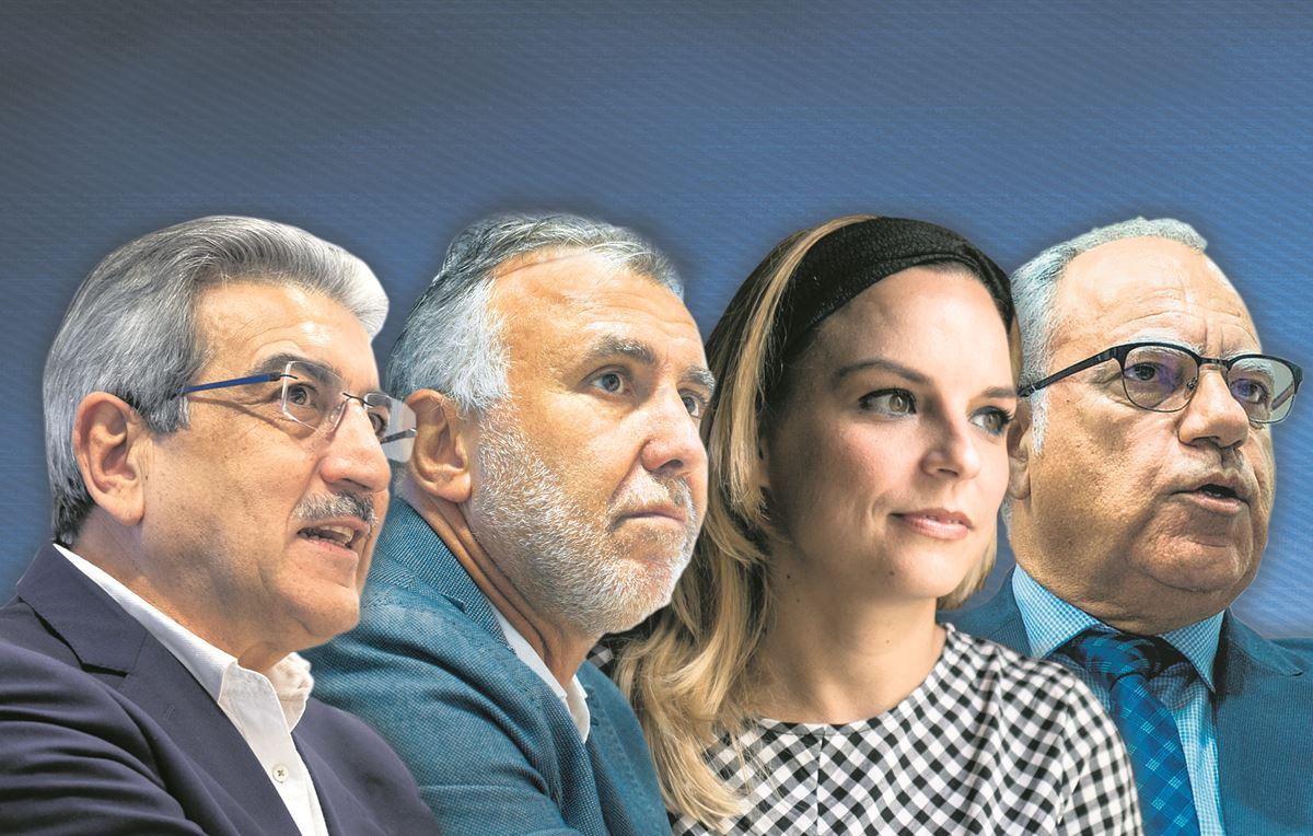 Román Rodríguez (NC), Ángel Víctor Torres (PSOE), Noemí Santana (Sí Podemos) y Casimiro Curbelo (ASG). DA