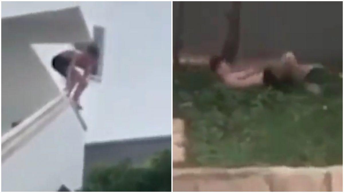 El joven se precipitó desde una barandilla hasta la copa de las árboles. Foto: Twitter.