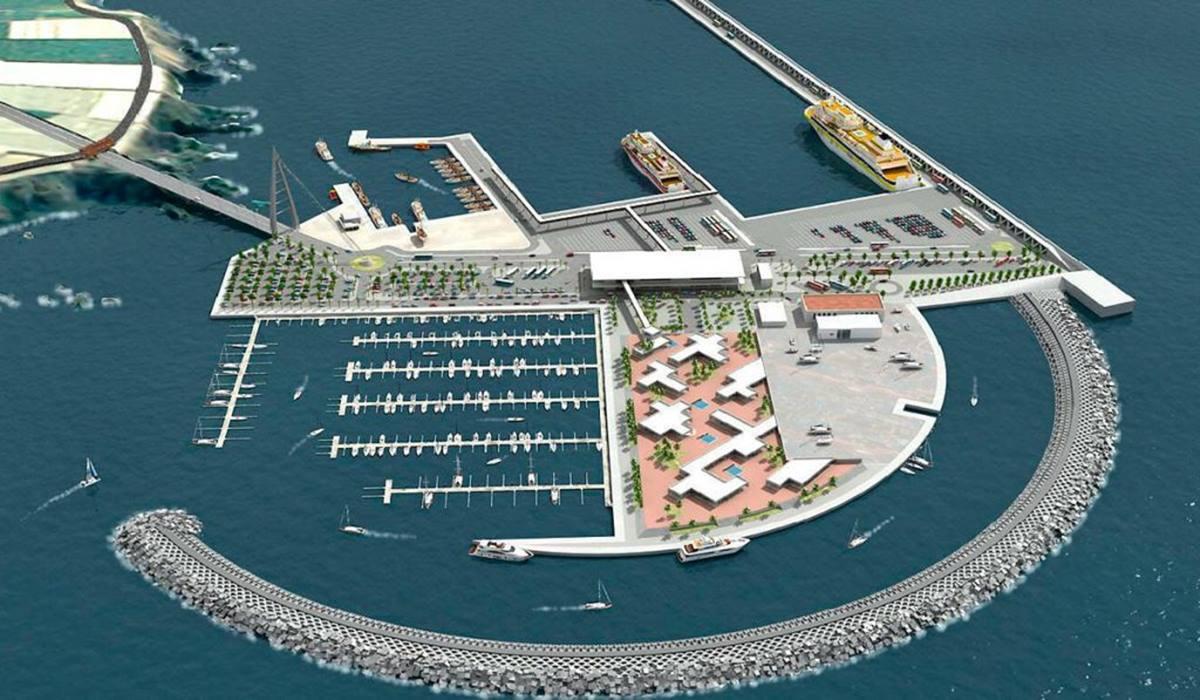 Proyecto previsto para el puerto de Fonsalía, que concentraría todas las comunicaciones entre el suroeste de Tenerife y las islas occidentales. DA