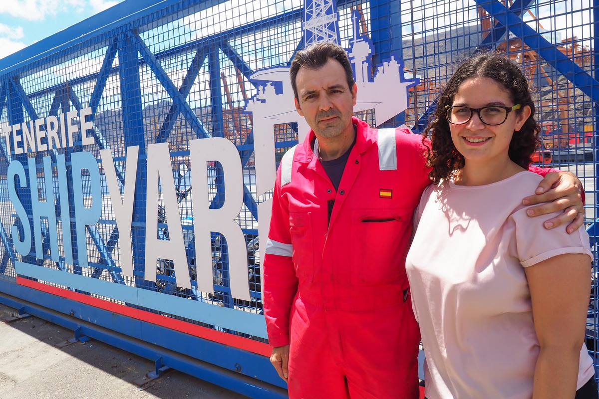 Pedro Plasencia y Olaya Canino forman parte del Departamento de Formación de Tenerife Shipyards. Sergio Méndez