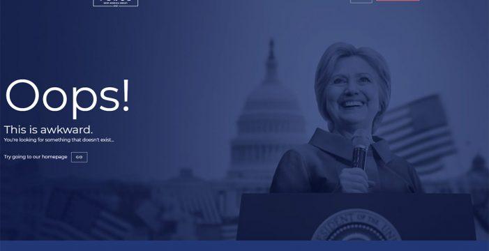 La web de campaña de Trump usa como página de error una imagen de Clinton