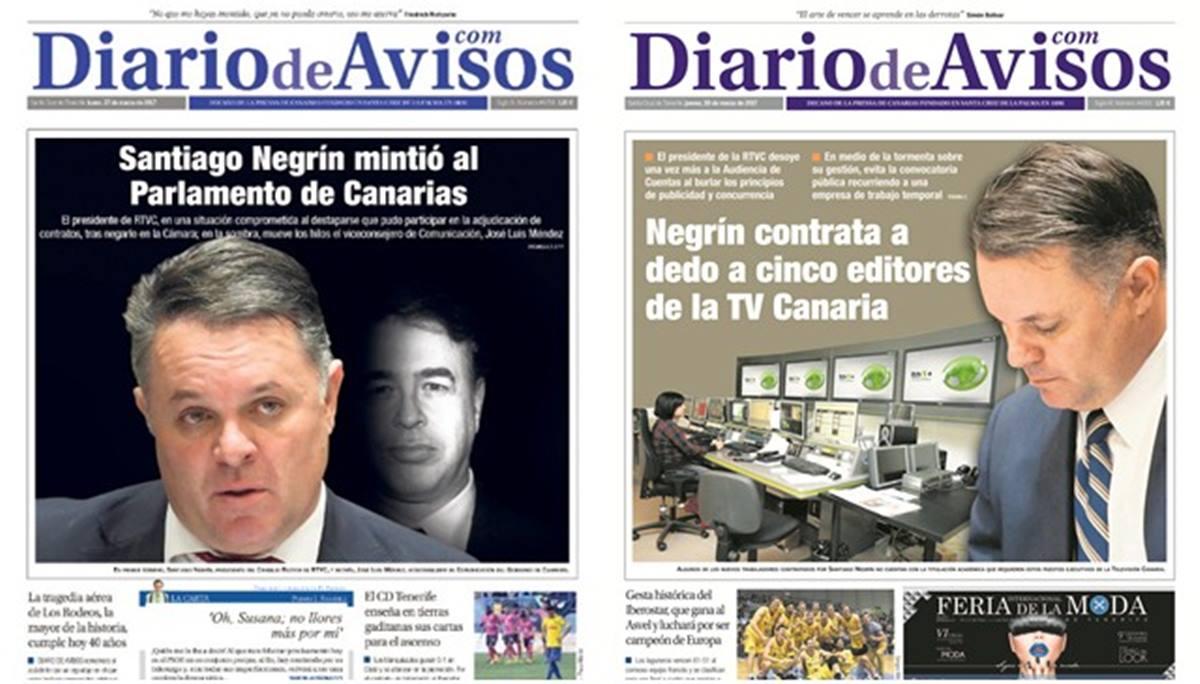 Las portadas de Diario de Avisos sobre la gestión de Santiago Negrín en RTVC