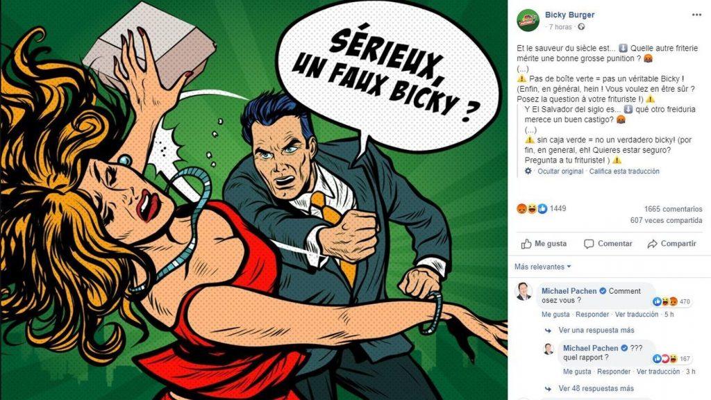 El polémico anuncio de Bicky Burger. Facebook