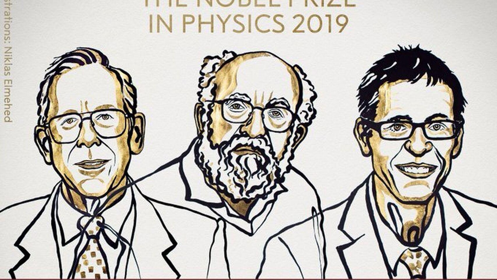 James Peebles, Michel Mayor y Didier Queloz, Nobel de Física 2019.
