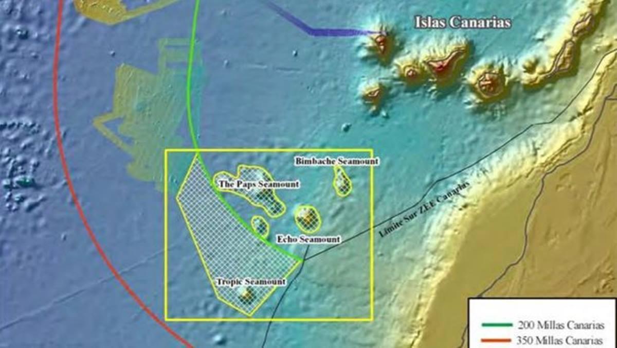 Mapa de la zona al suroeste de Canarias donde se han localizado los montes submarinos con minerales raros. DA