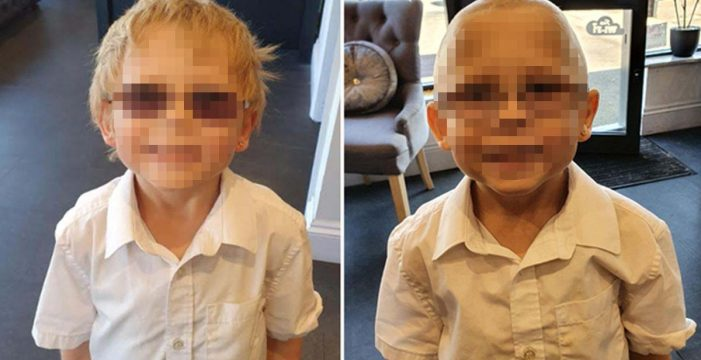 El pequeño Olly se afeita la cabeza para que su amigo con cáncer no sea el único sin pelo del colegio
