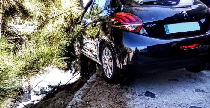 Un coche, a punto de caer por un barranco tras impactar contra un árbol en La Palma