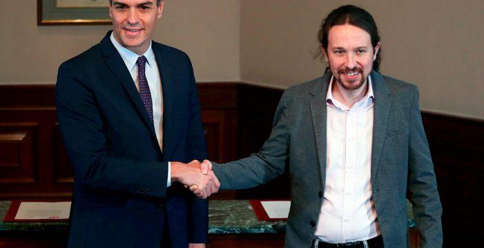 """Sánchez e Iglesias anuncian un Gobierno basado en la """"lealtad"""" y para cuatro años"""