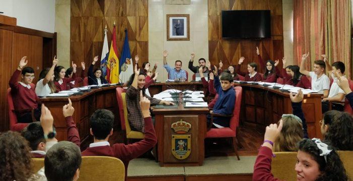 El alumnado del Colegio Santo Domingo de Guzmán plantea mociones sobre becas y medio ambiente al Pleno del Cabildo