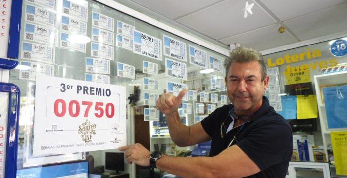 El 750, agraciado con el tercer premio, reparte suerte en Arico, Granadilla, Adeje y Santa Cruz