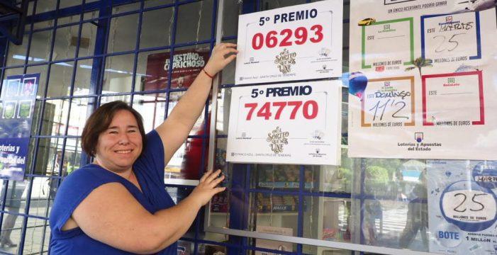 El 74.770, agraciado con otro quinto premio, cae en Tenerife y La Palma