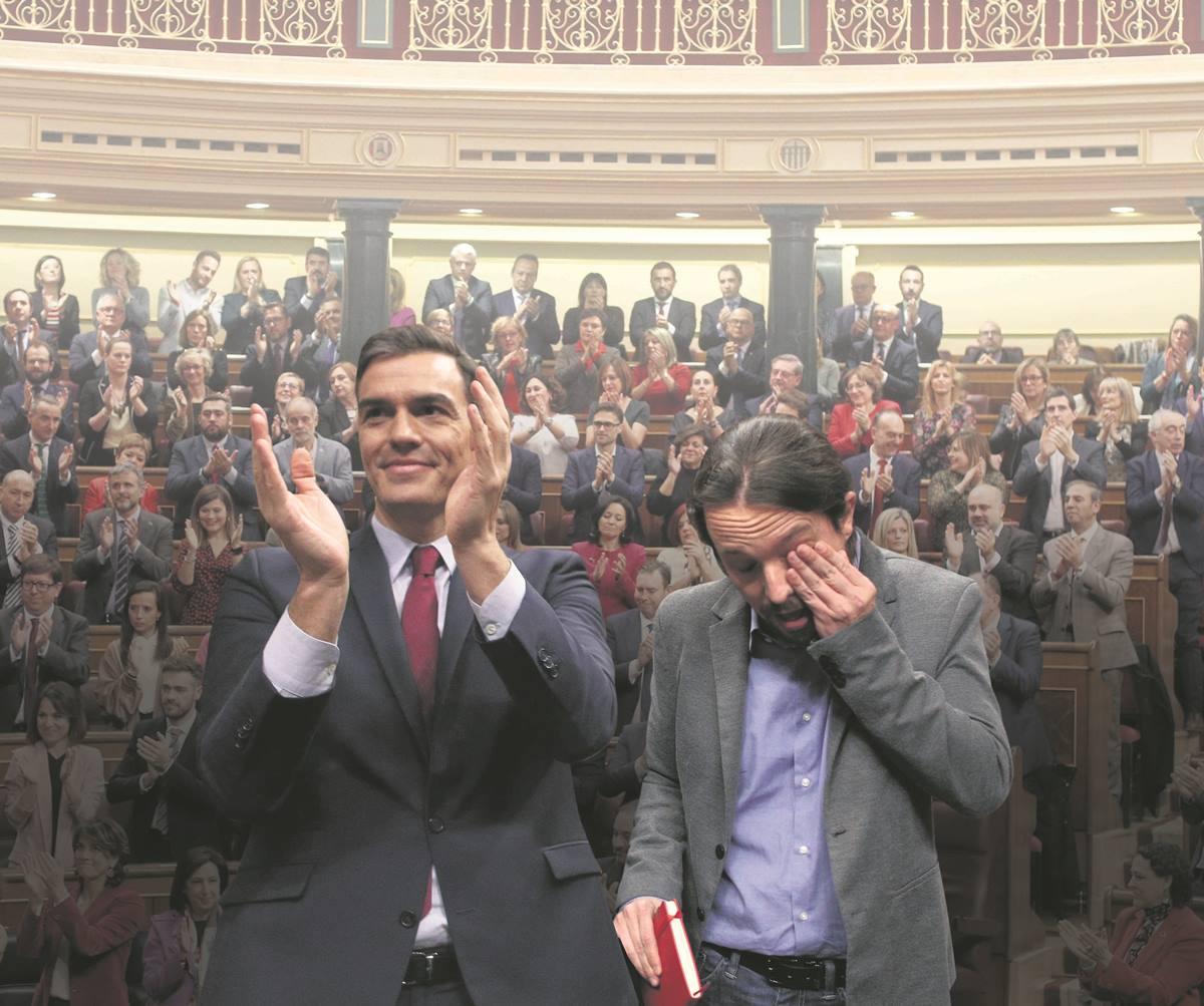 Pedro Sánchez y Pablo Iglesias en la votación que tuvo lugar en el Congreso de los Diputados. DA