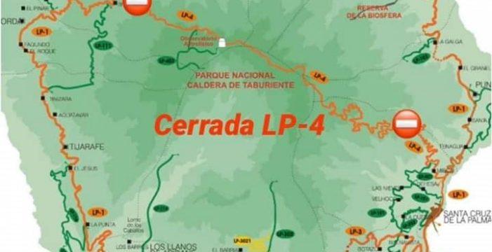 El Cabildo de La Palma corta la LP-4 y cierra de la Red de Senderos debido a la alerta