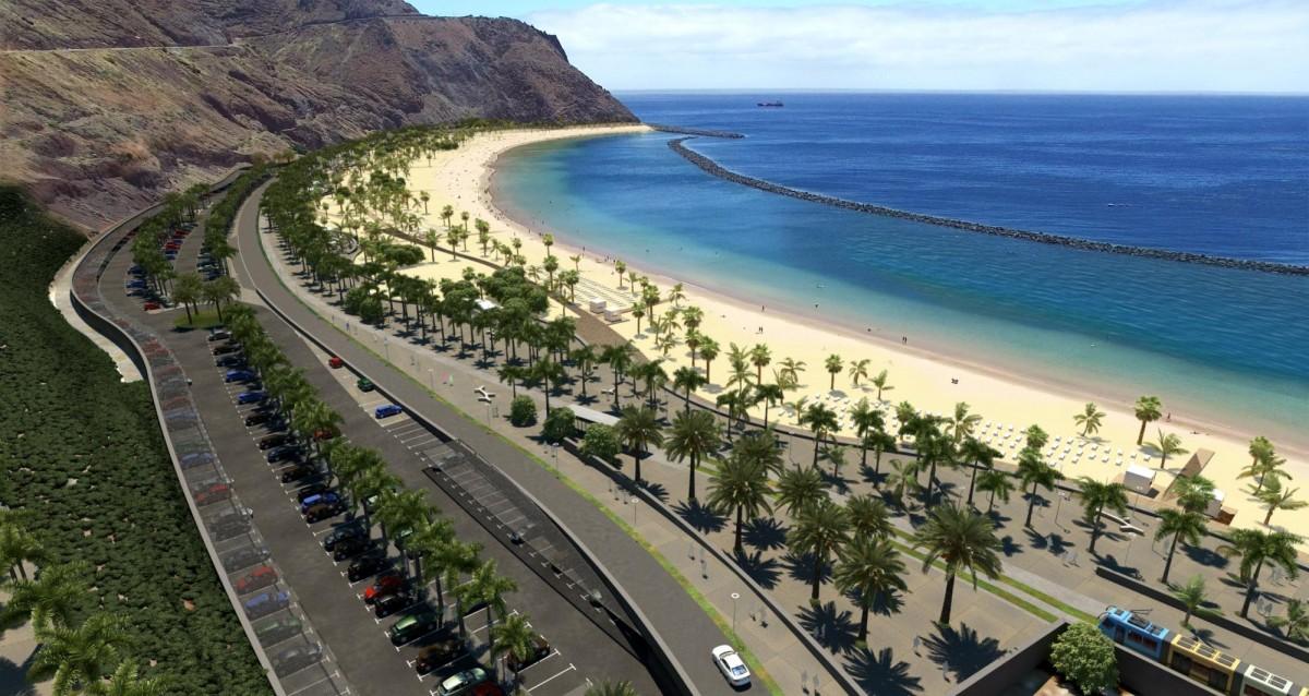 El tranvía atravesaría San Andrés y llegaría hasta la cabecera de la playa de Las Teresitas. DA