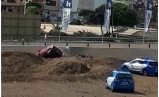 Se salta un control policial y acaba precipitado por un terraplén durante el estado de alarma en Canarias