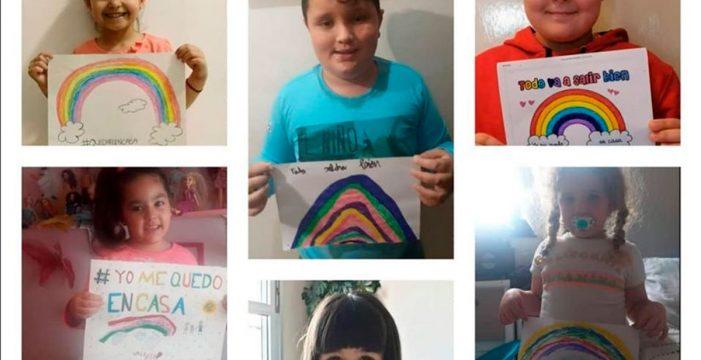 El CEIP de Tíncer anima a quedarse en casa con una cadena de arcoíris