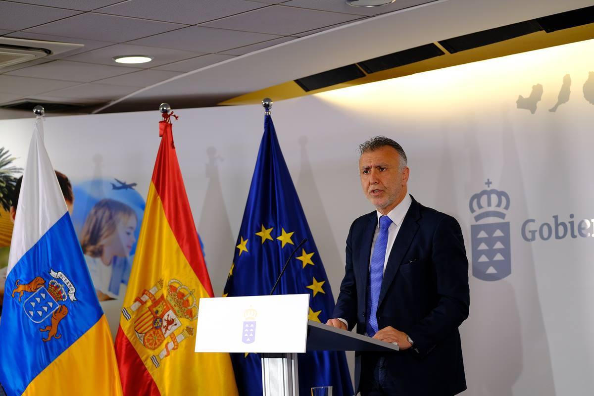 El presidente del Gobierno de Canarias, Ángel Víctor Torres, comparece en una rueda de prensa virtual. DA