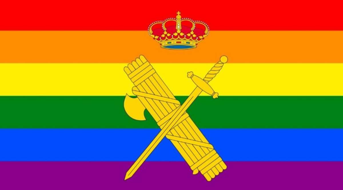 Imagen de fondo del perfil oficial de la Guardia Civil en Twitter con la bandera LGTBI. Twitter