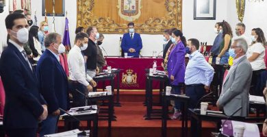 Imagen del Pleno celebrado ayer en el Ayuntamiento de La Laguna. Sergio Méndez