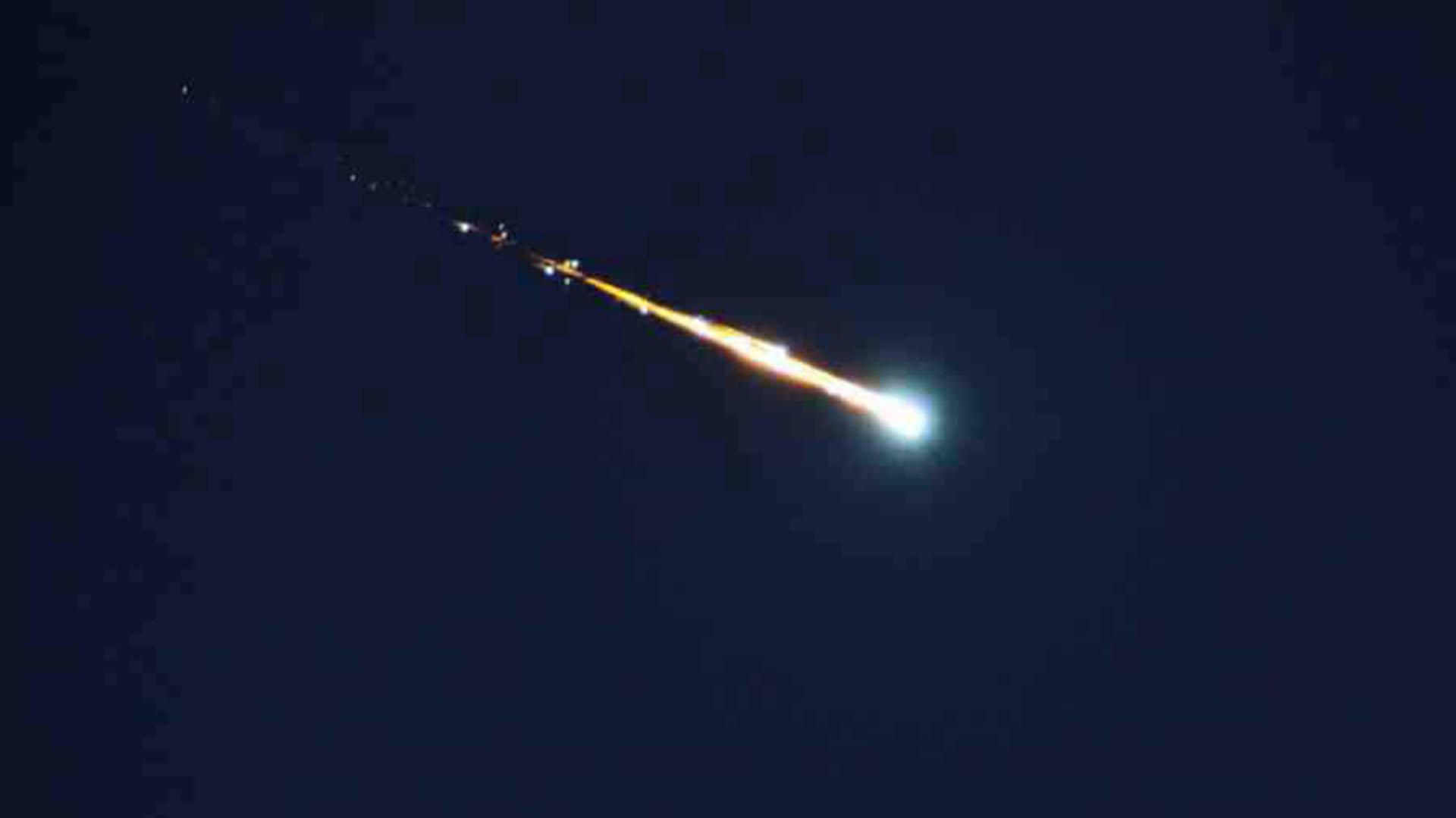 Recreación de la caída de un meteorito