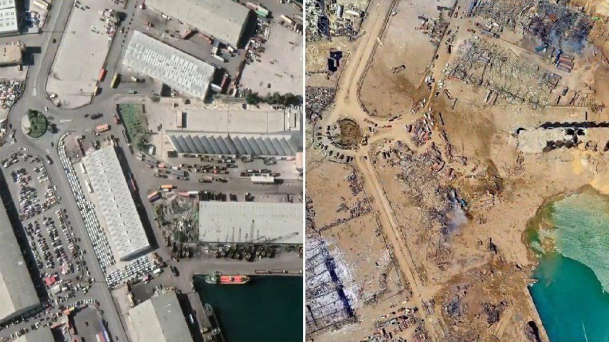 El antes y el después de la explosión en Beirut