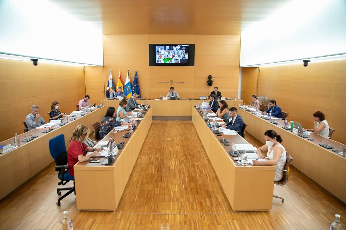 Vista general de un momento de la sesión plenaria de ayer en el Cabildo de Tenerife. DA