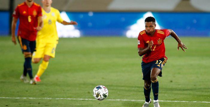 España golea a Ucrania con exhibición de Ansu y doblete de Ramos