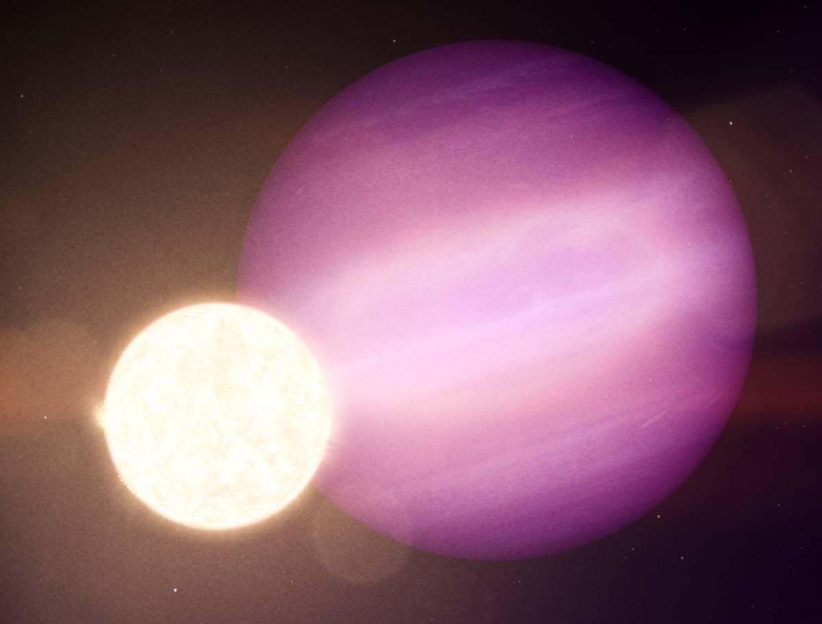 En esta ilustración, WD 1856 b, un potencial planeta del tamaño de Júpiter, orbita su tenue estrella enana blanca cada día y medio. NASA