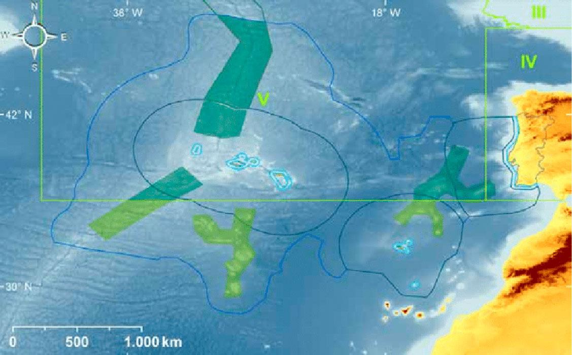 En la imagen se observan las áreas de influencia económica que pretende Portugal respecto a las Azores y Madeira