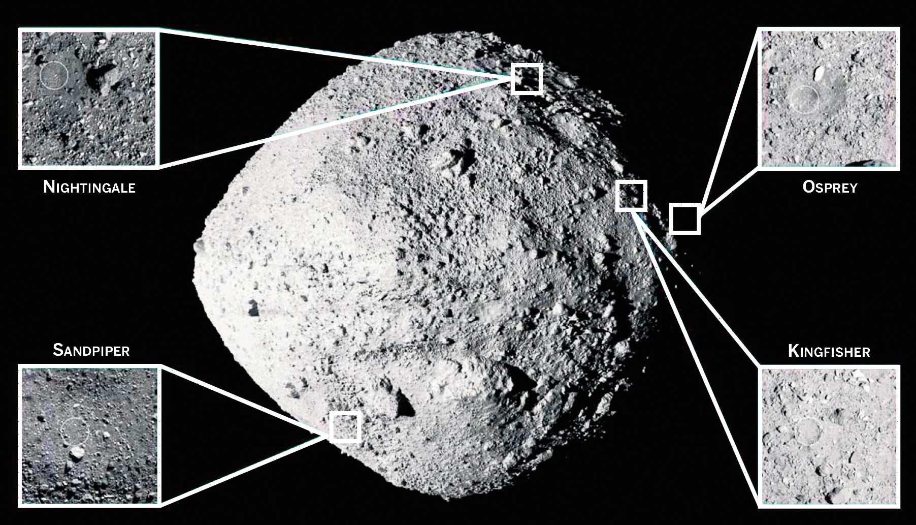 El asteroide Bennu y los cuatro puntos que se estudiaron para llevar a cabo la recogida de muestras