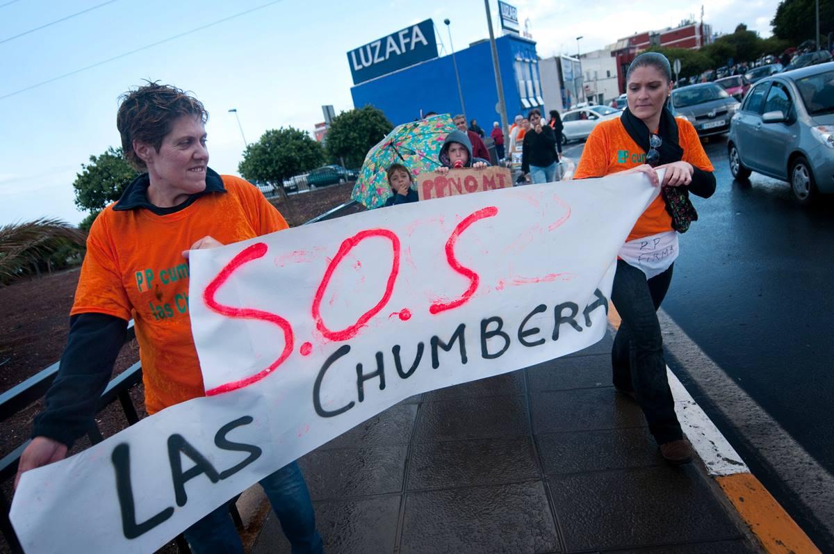 Una de las movilizaciones de los vecinos de Las Chumberas. Fran Pallero