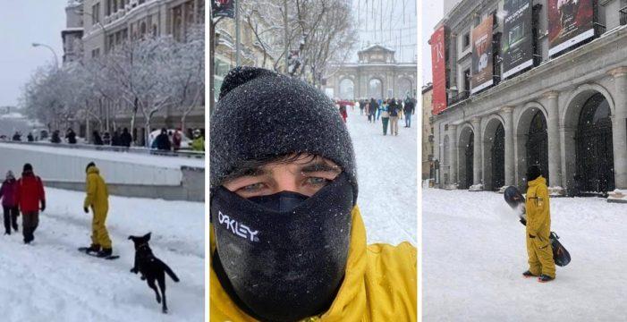 El novio de Ayuso hace 'snowboard' en pleno temporal mientras ella le pide a los madrileños que se queden en casa