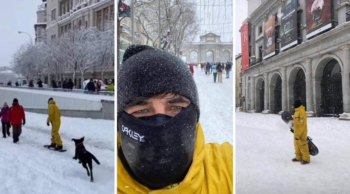 Imágenes compartidas por Jairo Alonso, novio de Díaz Ayuso, practicando 'snowboard' por Madrid. Twitter