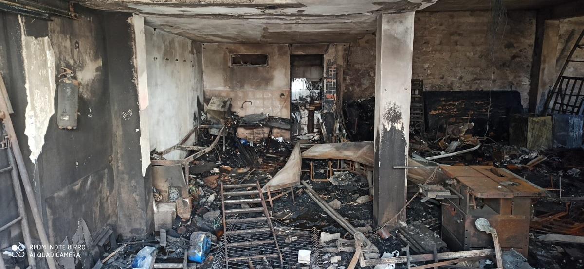 foto del sotano de la vivienda tras el incendio
