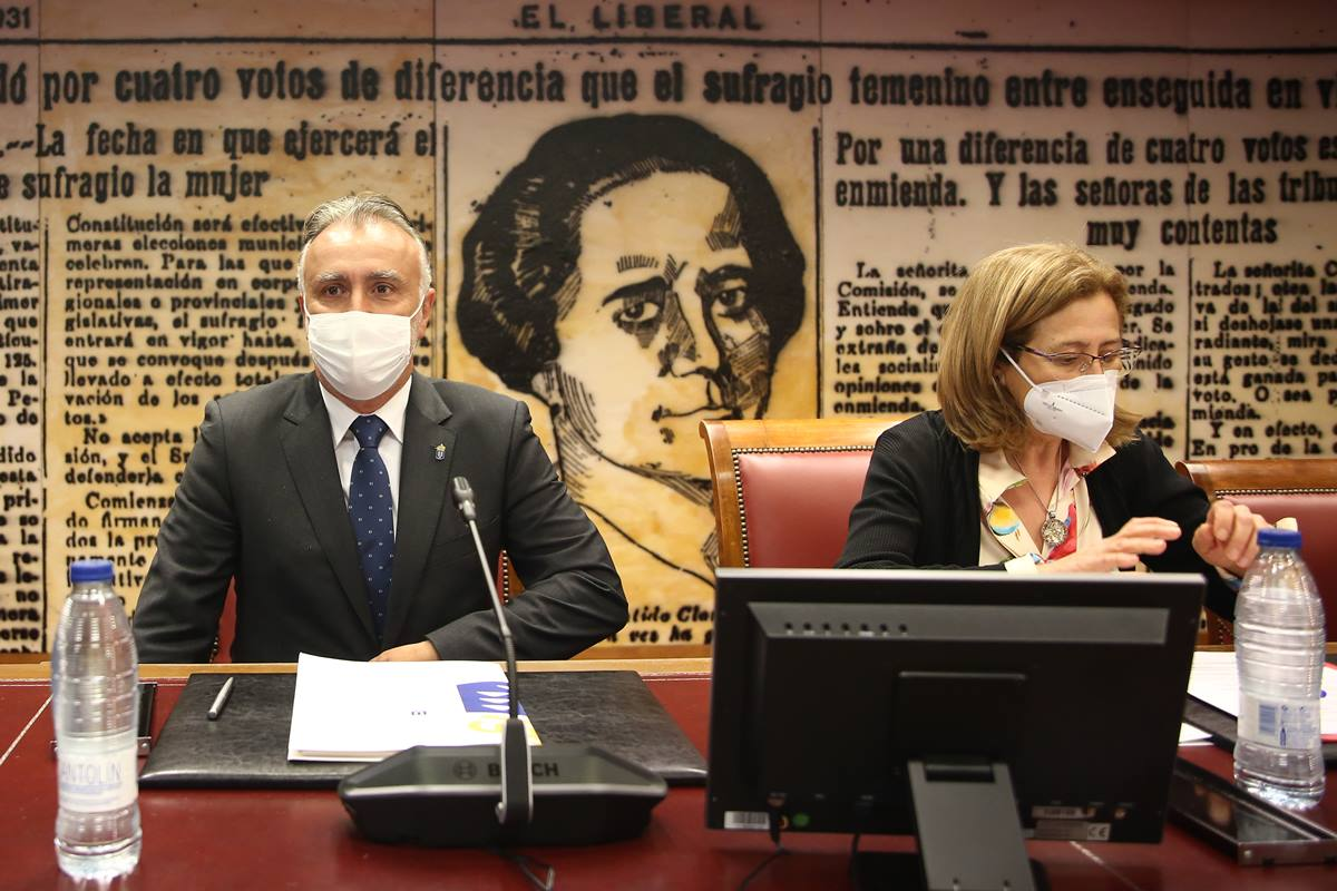 Ángel Víctor Torres, durante su intervención en la ponencia de estudio sobre la insularidad y la situación periférica de Ceuta y Melilla. DA